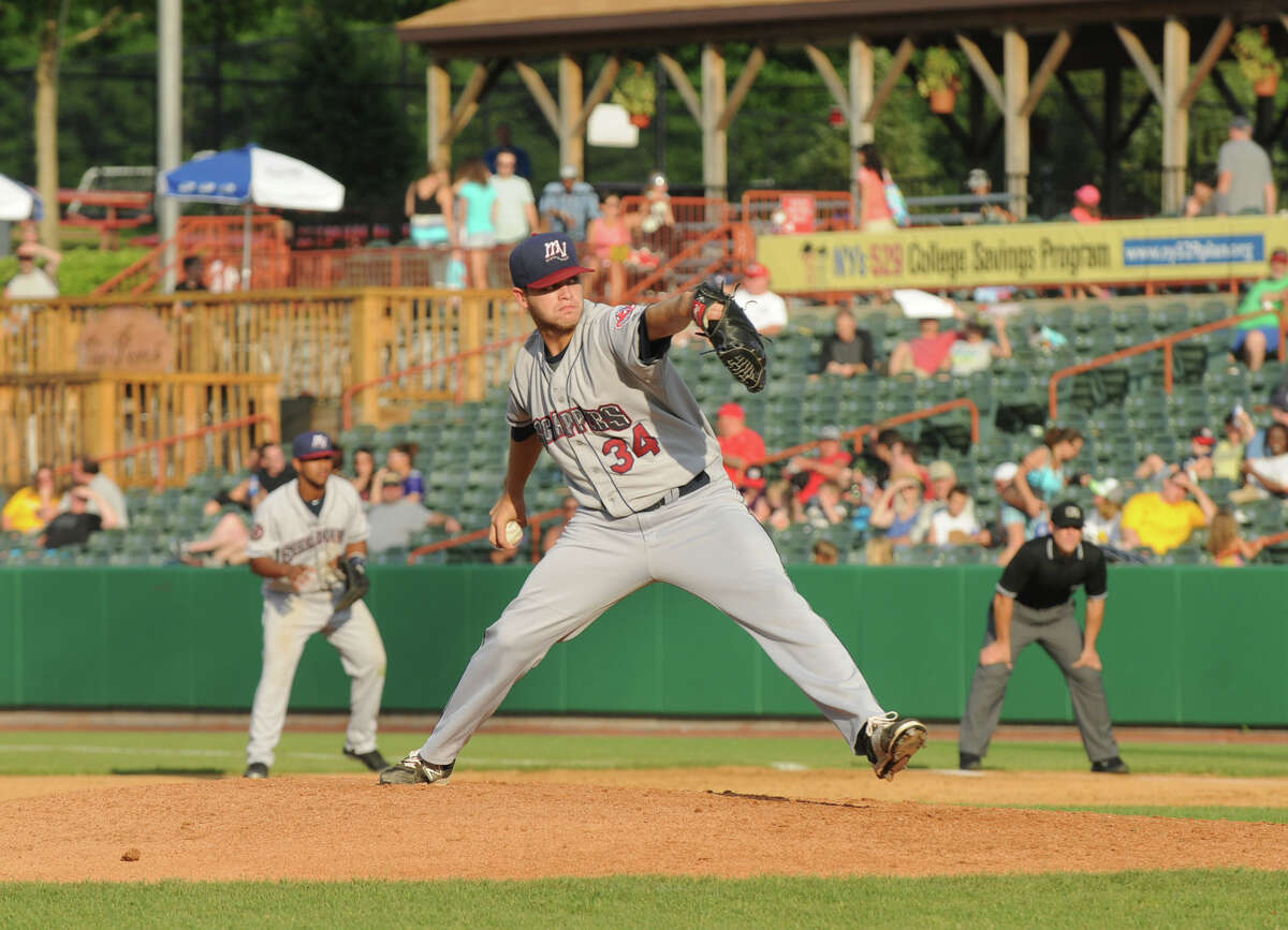 Casey Shane of the Mahoning Valley Scrappers pitches during the fifth inning of the Tri-City ValleyCats game against the Mahoning Valley Scrappers on Sunday, August 2, 2015, in Troy, N.Y. (Olivia Nadel/ Special to the Times Union)