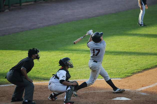 Nate Winfrey of the Mahoning Valley Scrappers hits a foul ball during the sixth inning of the Tri-City ValleyCats game against the Mahoning Valley Scrappers on Sunday, August 2, 2015, in Troy, N.Y. (Olivia Nadel/ Special to the Times Union) Photo: ON / 00032769A