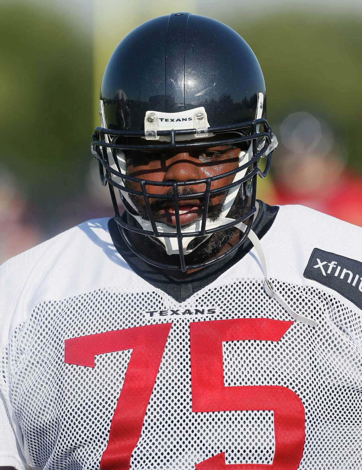 Houston Texans nose tackle Vince Wilfork (75) during an NFL football training camp at the Methodist Training Center on Sunday August 2, 2015 in Houston. (AP Photo/Bob Levey)