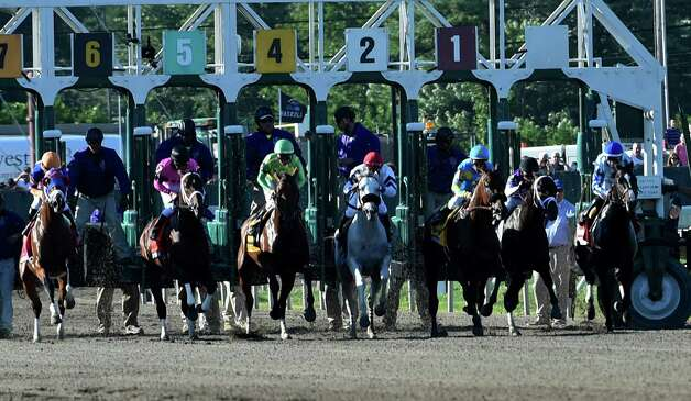 Triple Crown winner American Pharoah with jockey Victor Espinoza third from right breaks the gate Sunday Aug. 2, 2015 at Monmouth Park in Oceanport, N.J. on the way to his easy win in the 48th running of The Haskel Invitational.    (Skip Dickstein/Times Union) Photo: SKIP DICKSTEIN