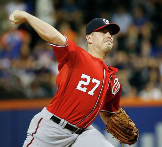 Washington Nationals starting pitcher Jordan Zimmermann delivers during the first inning of a baseball game against the New York Mets in New York, Sunday, Aug. 2, 2015. (AP Photo/Kathy Willens) ORG XMIT: NYM107 Photo: Kathy Willens / AP