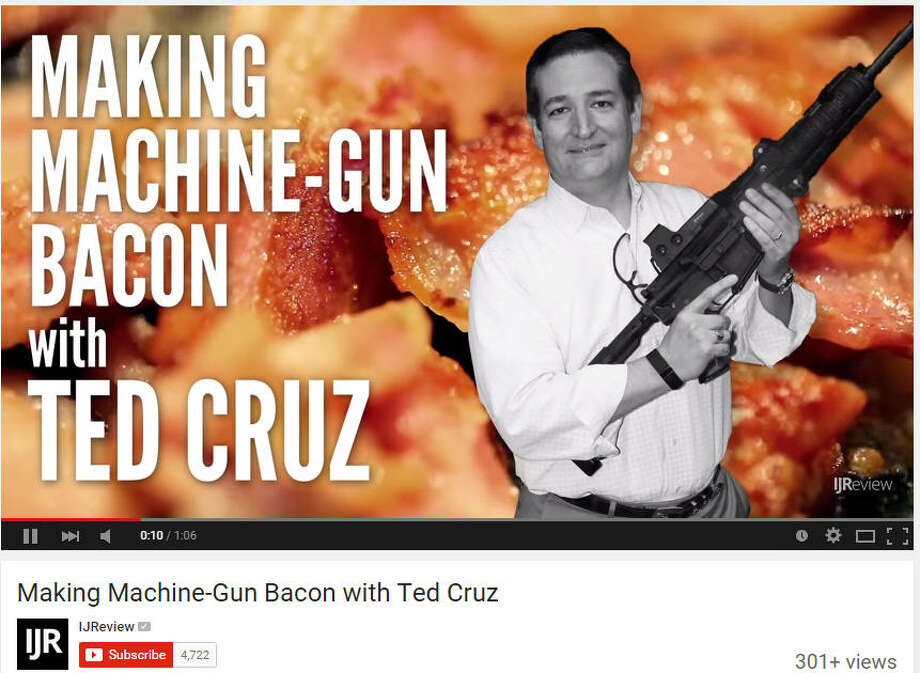 In a new YouTube video for IJReview.com, presidential candidate Sen. Ted Cruz, R-Texas, shows how to fry bacon off the end of smoking hot semi-automatic rifle while at at Central Iowa Impact Gun Range in Boone, Iowa. (screenshot from IJReview on YouTube)The good, the bad and the weird of Ted Cruz: See more of the candidates biggest (and sometimes strangest) political moments ... Photo: IJReview On YouTube