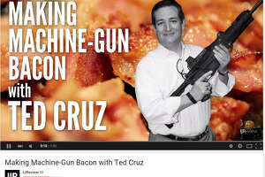Ted Cruz frying bacon off the end of a machine gun may be the most Ted Cruz thing ever - Photo