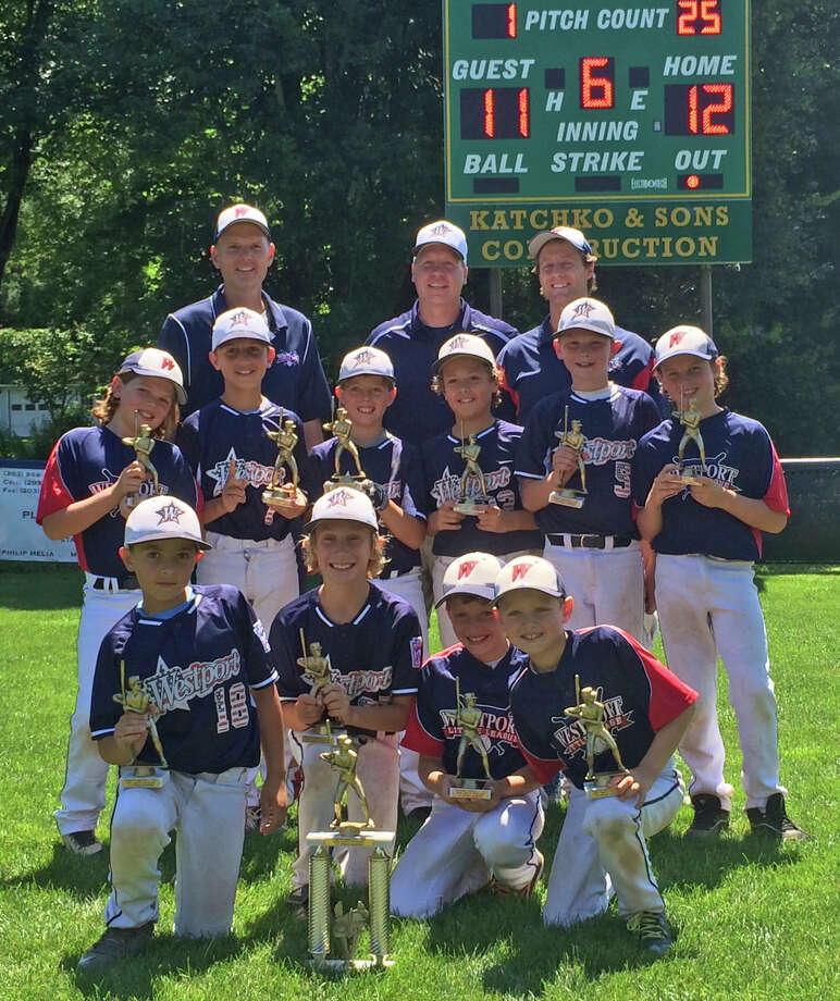 The Westport U10 baseball team won the LaMotta district tournament that was held in Stamford last week. Top row from left: Coach Mike McGarry, manager Walter Wolgast, coach Eric Oppenheimer. Middle row: Taylor Brundige, Jason Wolgast, Alex Oppenheimer, Brennan Herold, James McGarry, Alex Fiala.  Front row: Josh Friedman, Jason Lessing, Andrew Hess, Andrew Oppenheimer. Photo: Contributed Photo / Westport News Contributed