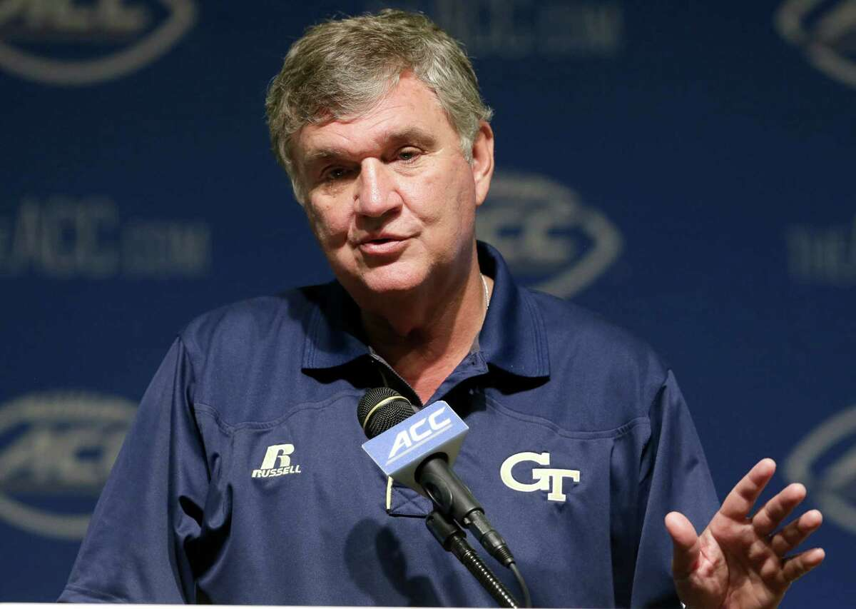 Georgia Tech coach Paul Johnson responds to questions during the ACC NCAA football kickoff in Pinehurst, N.C., Tuesday, July 21, 2015.