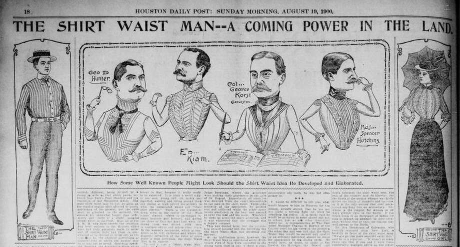 Moving into the 20th Centrury, shirtwaists became fashionable for women and helped avoid corsets. A section in the Houston Daily Post illustrators what some well known men would look like wearing shirtwaists.