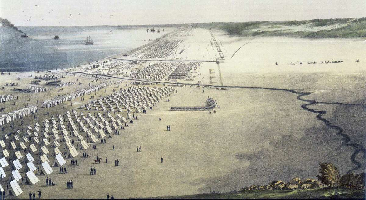 Prior to the beginning of the Mexican-American War in 1846, U.S. troops set up camp on the coast of Southern Texas outside this port city.