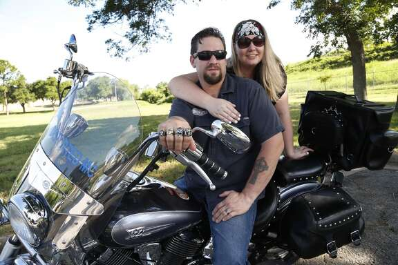 William and Morgan English with their Yamaha motorcycle, photographed on Tuesday, June 9, 2015, in Brenham. They were on site during the shootout at Twin Peaks in Waco, and both spent multiple days in jail They had just pulled up to the restaurant when the shooting started. ( Karen Warren / Houston Chronicle )