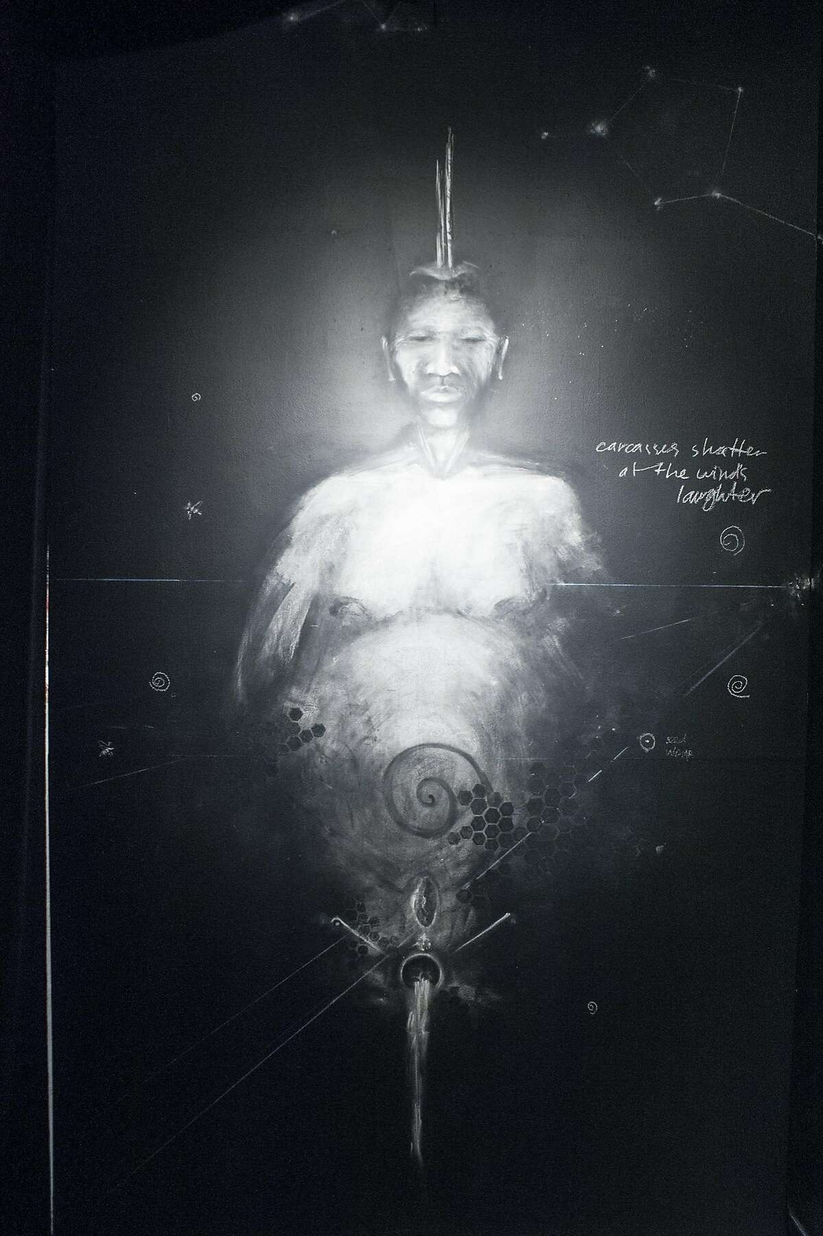 A chalk drawing by Sage Stargate carries out the theme of communing with ancestors.