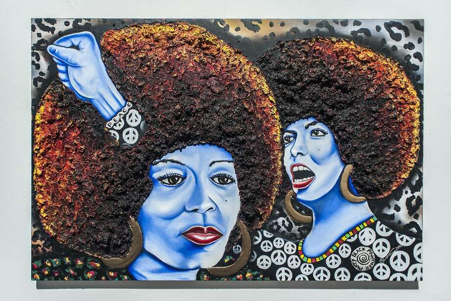 """""""The Power of Angela Davis"""" by Nannette Y. Harris-Jones is one of the pieces on display in """"Making a Scene"""" at SOMArts. Photo: J. Astra Brinkmann"""