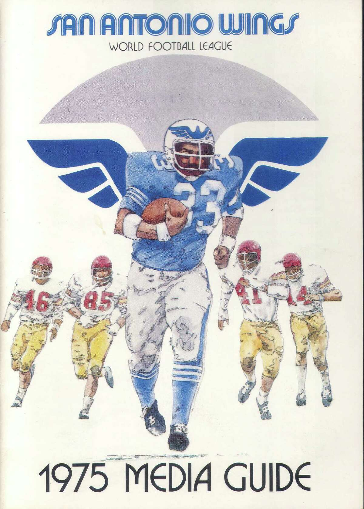 The 1975 media guide for the San Antonio Wings of the World Football League.