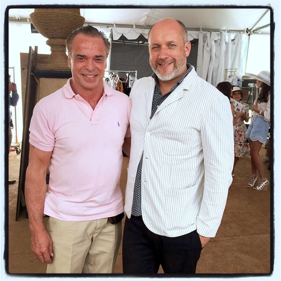 Boaz Mazor (left) with ODLR designer Peter Copping at the League to Save Lake Tahoe fashion show. Aug 2015. Photo: Catherine Bigelow, Special To The Chronicle