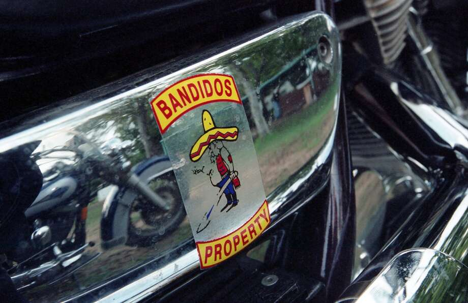 11/05/2000 - Detail of sticker on motorcycle of Bandidos Motorcycle Club member during a weekend party at Bryant's Ice House near Katy. Photo: © Houston Chronicle