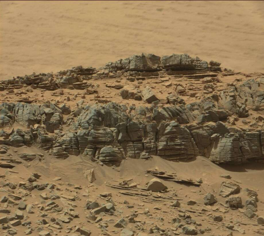 This is the full screen version of the raw image sent by the Mars rover Curiosity. Keep going to get the full experience of discovering the Mars Cave Crab!(Here's NASA's description and credit line: This image was taken by Mastcam: Right (MAST_RIGHT) onboard NASA's Mars rover Curiosity on Sol 710 (2014-08-05 13:25:07 UTC). Image Credit: NASA/JPL-Caltech/MSSS )