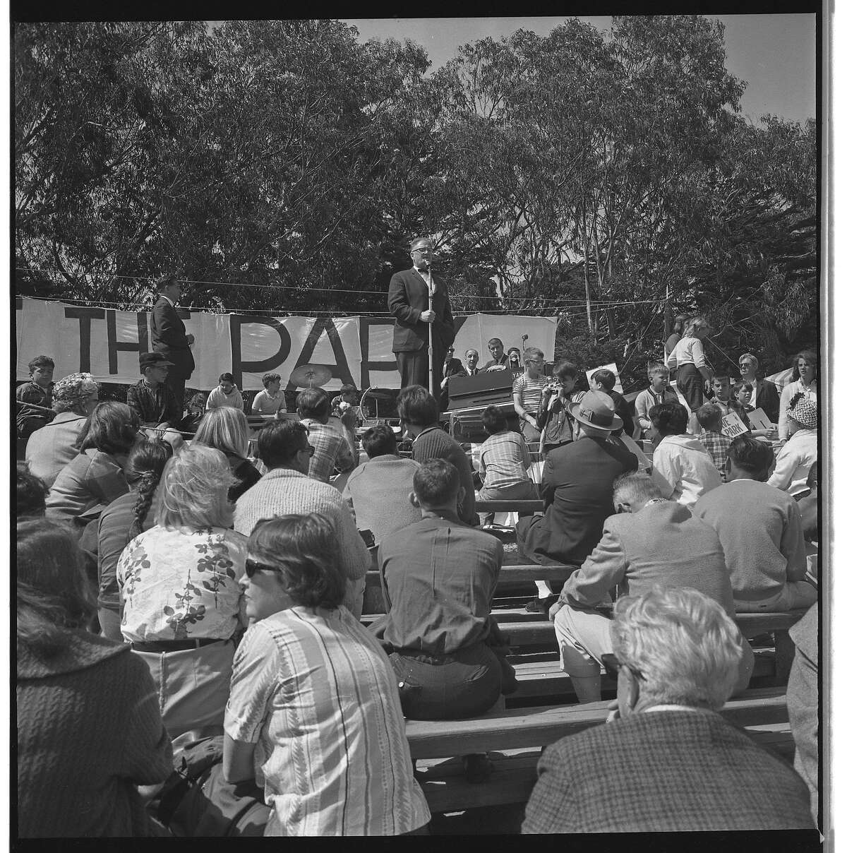 Rally in Golden Gate park to fight the proposed Panhandle Freeway on May 25, 1964.