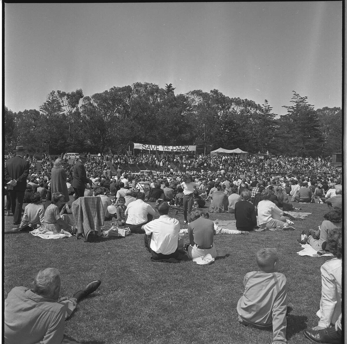 Rally in Golden Gate park to fight the proposed Panhandle Freeway as well as the Golden gate Freeway Photos shot 05/25/1964