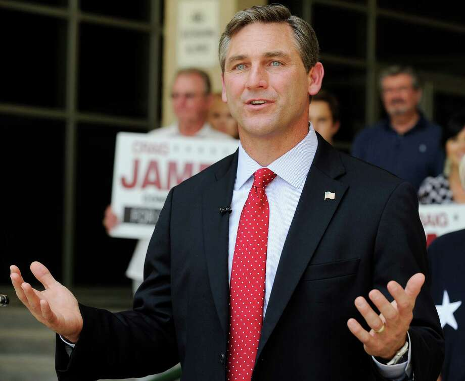 FILE - In this May 24, 2012, file photo, Texas Republican candidate for the U.S. Senate Craig James speaks at a news conference in Houston. James on Monday, Aug. 3, 2015, filed a religious discrimination lawsuit against Fox Sports that contends he was fired because he had expressed opposition to gay marriage during a failed run for the U.S. Senate. (AP Photo/Pat Sullivan, File) Photo: Pat Sullivan, STF / AP