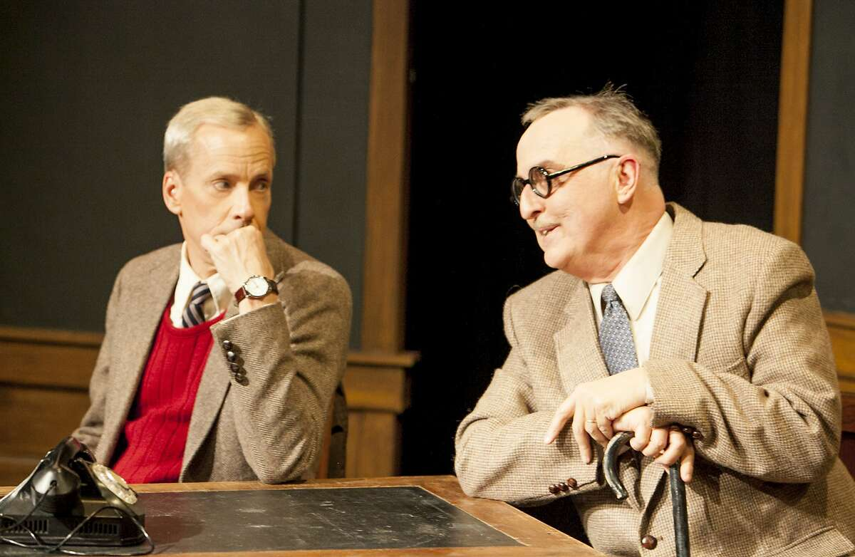 """John Fisher (left) is Alan Turing and Val Hendrickson is Knox in the Theatre Rhinoceros revival of """"Breaking the Code - The Alan Turing Story"""" by Hugh Whitemore. The drama continues through Aug. 29 at the Eureka Theatre. Photo by David Wilson"""