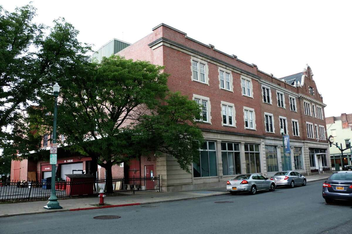 The exterior of the previous Troy Record building which is being proposed for apartments on Monday, August 3, 2015, in Troy, N.Y. The project's developer didn't like the city's offer of tax breaks, so it went to the county's economic development arm for more money. (Olivia Nadel/ Special to the Times Union)