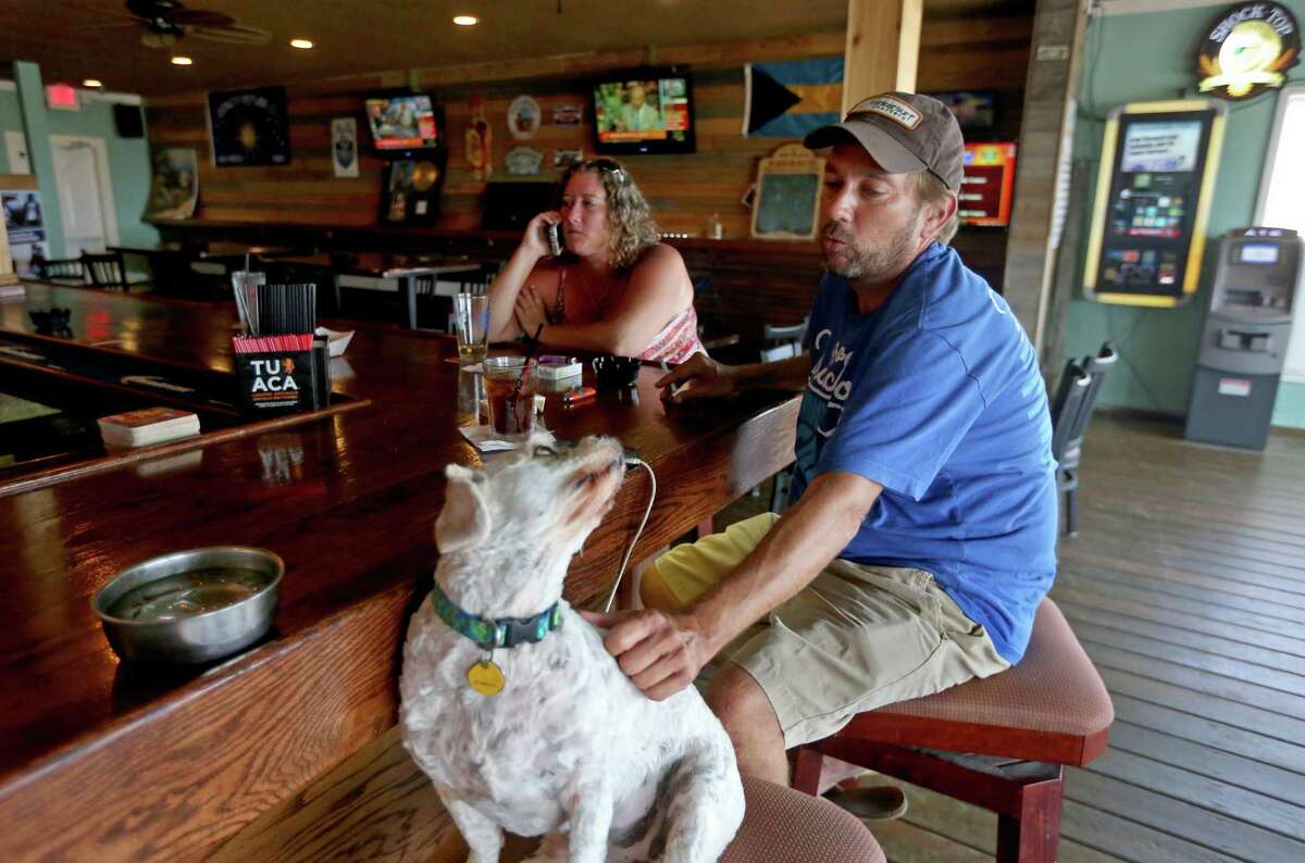 James Cunningham, owner of Hemingway's Bar in Galveston, sits with Buddy, owned by customer Tenelle Cassel. A trademark disagreement means the watering hole will have to change its name.