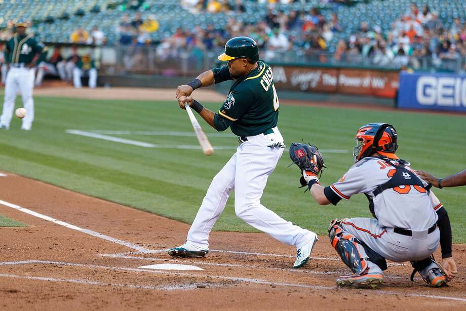 Coco Crisp of the Oakland Athletics hits a single against the Baltimore Orioles during the first inning at O.co Coliseum on August 3, 2015 in Oakland, California. Photo: Jason O. Watson, Getty Images