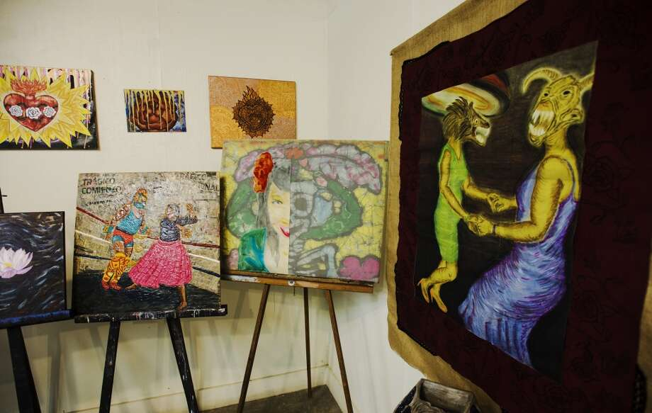 "Some of Yolanda Carmen Perez's work is seen at The Art Studio on Monday afternoon. Yolanda Carmen Perez is the focus of cat5's Creative Class for July 30, 2015. Some of Perez's work will be shown at the Jefferson Theatre in conjunction with July 24th's showing of ""El Mariachi."" Photo taken Monday 7/20/15 Jake Daniels/The Enterprise Photo: Jake Daniels/The Enterprise"