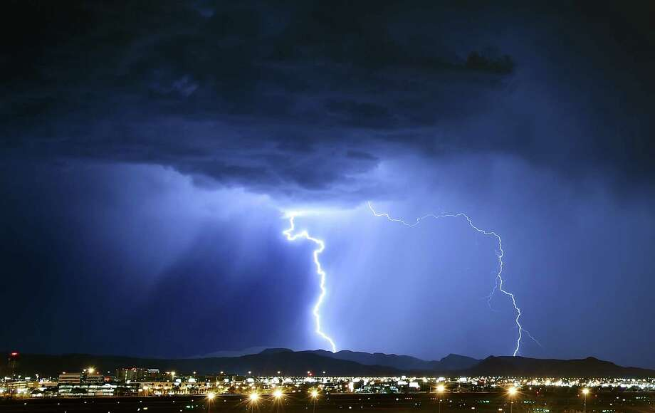 This file photo shows the kind of lightning southwest Connecticut saw on Tuesday, Aug. 4, 2015. Photo: Ethan Miller / Getty Images / 2015 Getty Images