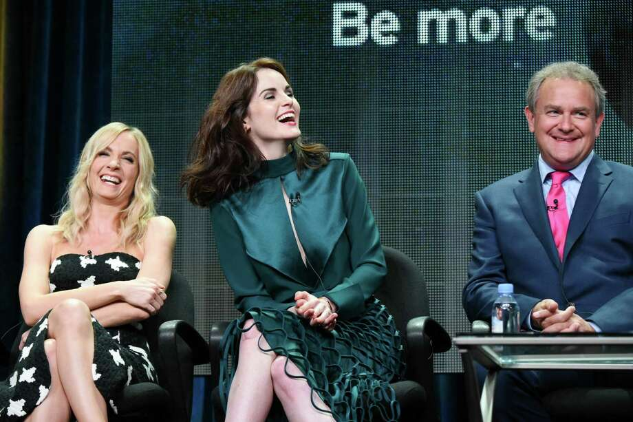 """Actors Joanne Froggatt, from left, Michelle Dockery, and Hugh Bonneville speak onstage during the """"Downton Abbey"""" panel at the PBS 2015 Summer TCA Tour held at the Beverly Hilton Hotel on Saturday, Aug. 1, 2015, in Beverly Hills, Calif. (Photo by Richard Shotwell/Invision/AP) Photo: Richard Shotwell, INVL / Associated Press / Invision"""