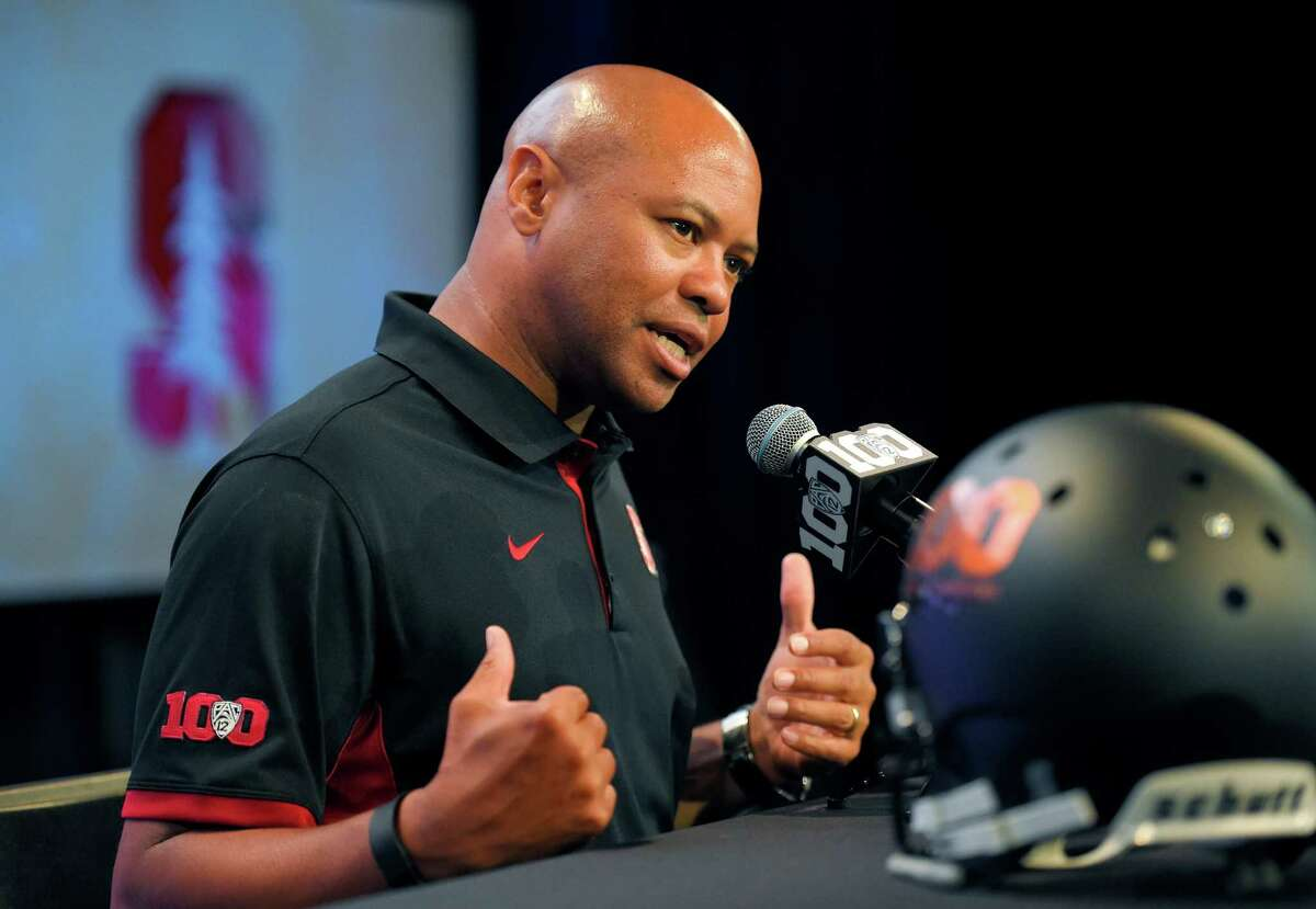 Stanford head coach David Shaw speaks to reporters during NCAA college Pac-12 Football Media Days, Thursday, July 30, 2015, in Burbank, Calif.