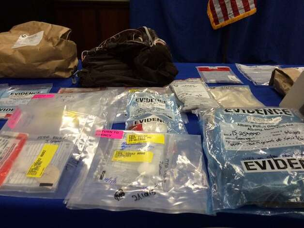 """Evidence from """"Operation Trojan Horse"""" Troy drug bust during a press conference Aug. 4, 2015, in Albany. (Phoebe Sheehan/Special to the Times Union)"""