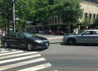 Two cars were involved in an accident in downtown Bridgeport on Tuesday, August 4, 2015 at the State Street and Lafayette Boulevard intersection.
