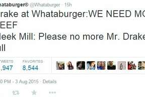 """Drake at Whataburger: WE NEED MORE BEEF Meek Mill: Please no more Mr. Drake I'm full"""