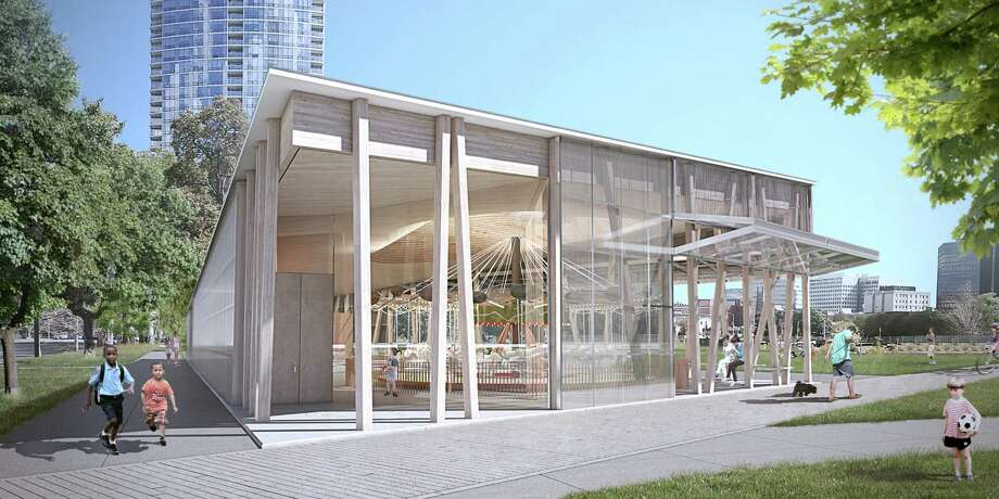 This rendering shows the entrance to a carousel pavilion for Mill River Park. Ground recently broke on the project. Under new rules, alcohol could not be sold there when it is open to the public. Photo: Contributed / Contributed / Stamford Advocate Contributed