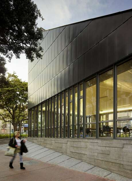 Boeddeker Park's clubhouse, designed by WRNS Studio of San Francisco, is a key part of the $9.3 million remake of the Tenderloin park that opened last December. The unusual shape of the clubhouse, besides being visually distinctive, channels heat up and out of the building as part of a natural circulation system. Photo: Matthew Millman, WRNS Studio