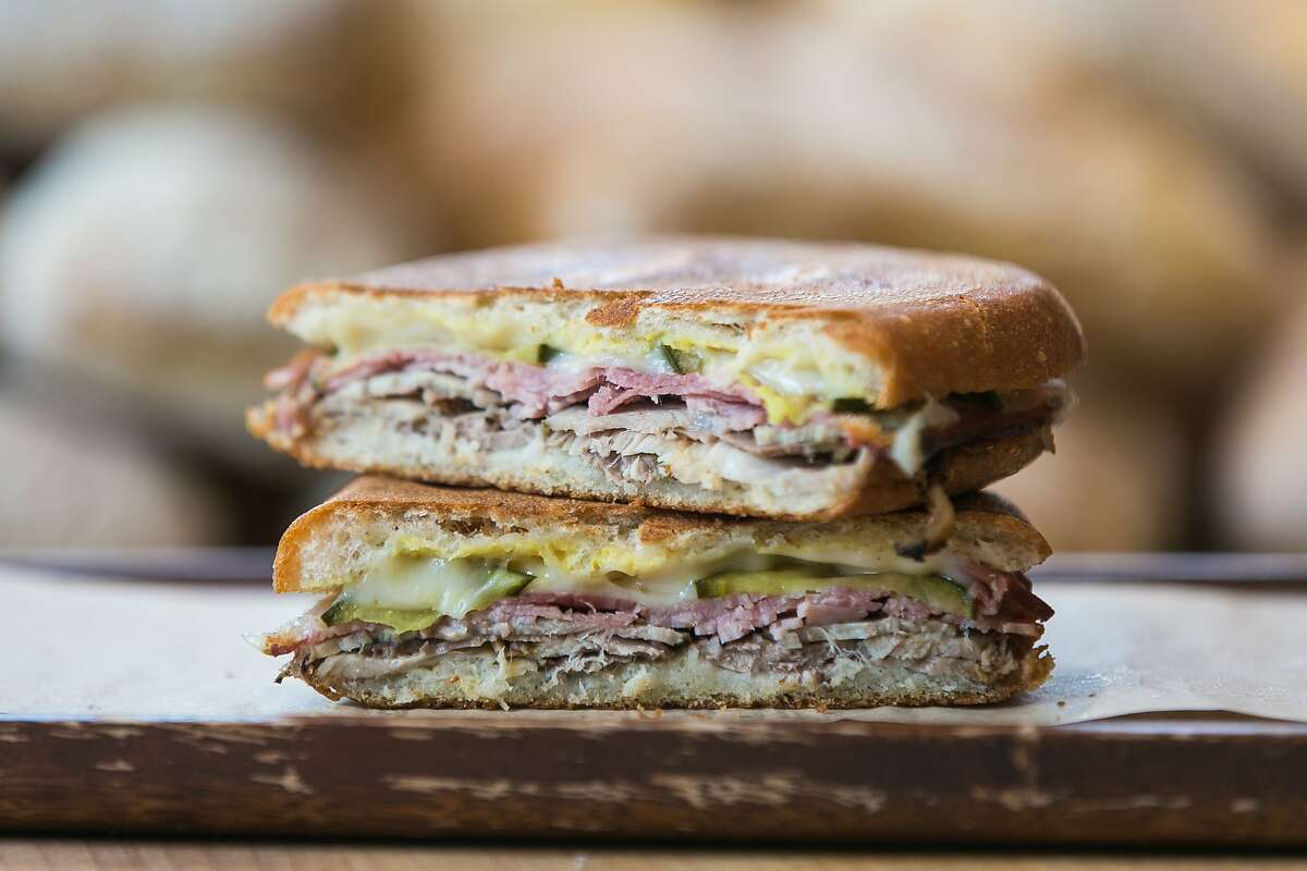 A stacked Cubano sandwich at B. on the Go.