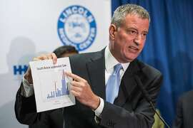 NEW YORK, NY - AUGUST 04:  New York City Mayor Bill de Blasio speaks at a press conference to address the Legionnaire's disease outbreak in the city at Lincoln Hospital on August 4, 2015 in the Bronx borough of New York City. The disease - which is not contagious - has been found in five building water cooling systems, which has infected at least 86 people and killed seven since July as of August 4.  (Photo by Andrew Burton/Getty Images)