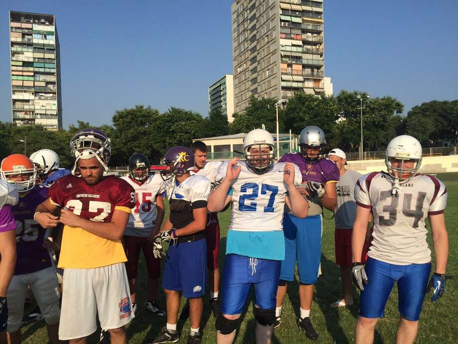 Dobie football coach Mike Norman spent the summer in Split, Croatia, where he has coached a club in American football for a week each of the last four summers. Photo: Courtesy Mike Norman / Handout