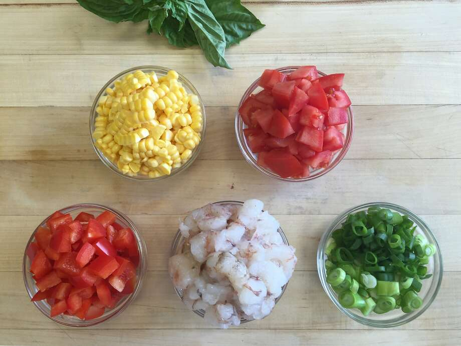 Rock Shrimp and Summer Vegetable Saute Photo: Amanda Gold