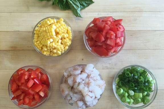 Rock Shrimp and Summer Vegetable Saute