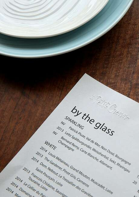 A wine menu seen on a table of the new Petit Crenn in San Francisco, Calif., on Tuesday, August 4, 2015. Photo: Liz Hafalia, The Chronicle