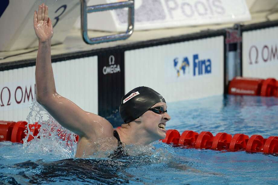 The 1,500-meter world record Katie Ledecky set on Monday stood for a day — she broke it to win gold in Tuesday's final. Photo: Alexander Nemenov, AFP / Getty Images