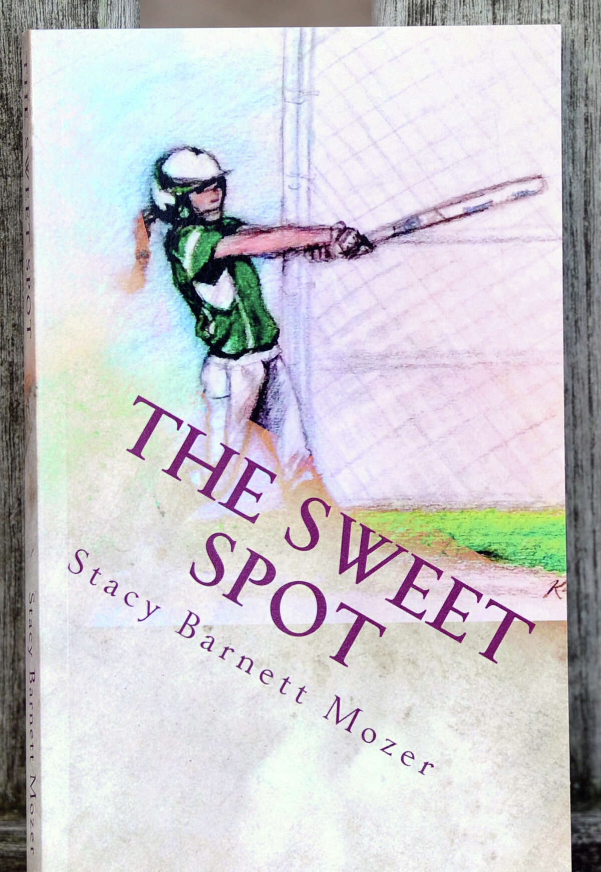 """Stacy Barnett Mozer's book """"The Sweet Spot,"""" about a 13-year-old girl baseball player participating as the only girl in a 13U league, at the Riverside School in the Riverside section of Greenwich, Conn., Tuesday, Aug. 4, 2015. The cover artwork for the book was done by Karen Jacobson, a retired Riverside School art teacher."""