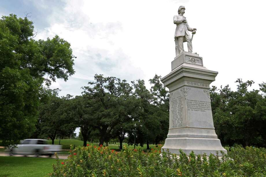 Hermann Park features a statue of Dick Dowling, a lieutenant for the Confederacy during the Civil War. The Houston street named for Dowling was recently renamed Emancipation Avenue. Photo: Mayra Beltran, Staff / Â 2015 Houston Chronicle