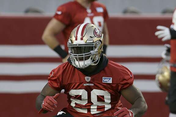 San Francisco 49ers running back Carlos Hyde (28) during the team's NFL football training camp in Santa Clara, Calif., Saturday, Aug. 1, 2015. (AP Photo/Jeff Chiu)
