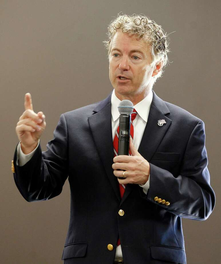 Republican presidential candidate Sen. Rand Paul, R-Ky., delivers a speech during an appearance at the Five Sullivan Brothers Convention Center in Waterloo, Iowa, Friday, July 31, 2015. (Brandon Pollock/The Courier via AP)  MANDATORY CREDIT Photo: Brandon Pollock, MBO / THE WATERLOO COURIER