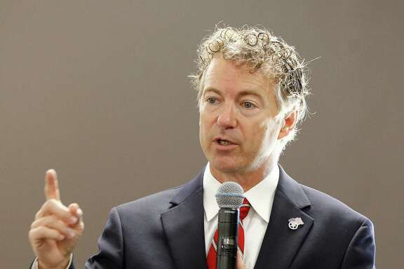 Republican presidential candidate Sen. Rand Paul, R-Ky., delivers a speech during an appearance at the Five Sullivan Brothers Convention Center in Waterloo, Iowa, Friday, July 31, 2015. (Brandon Pollock/The Courier via AP)  MANDATORY CREDIT