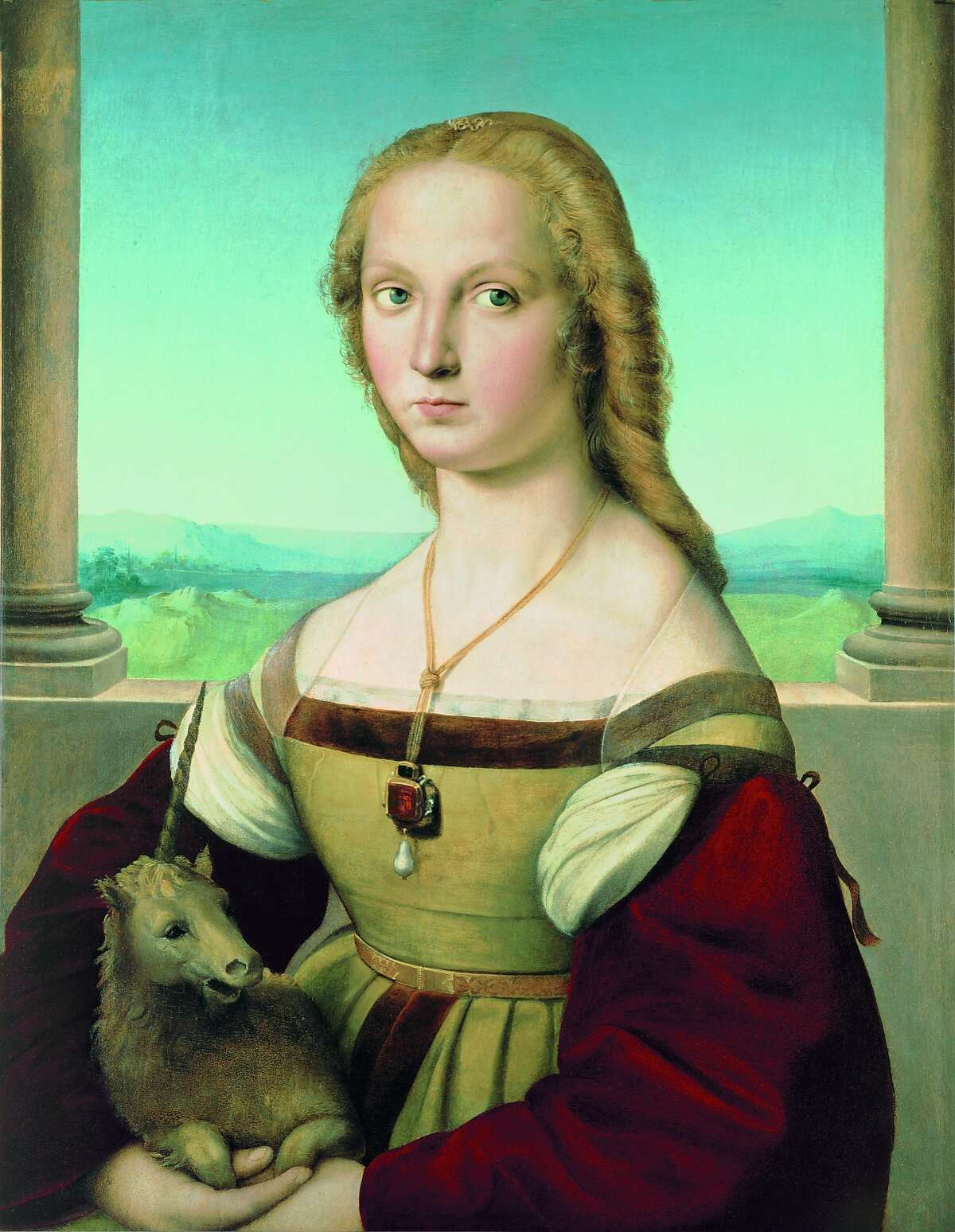 """""""Portrait of a Lady with a Unicorn"""" by Raphael dates to 1505-1506. It will be on display in January 2016 at the Legion of Honor."""