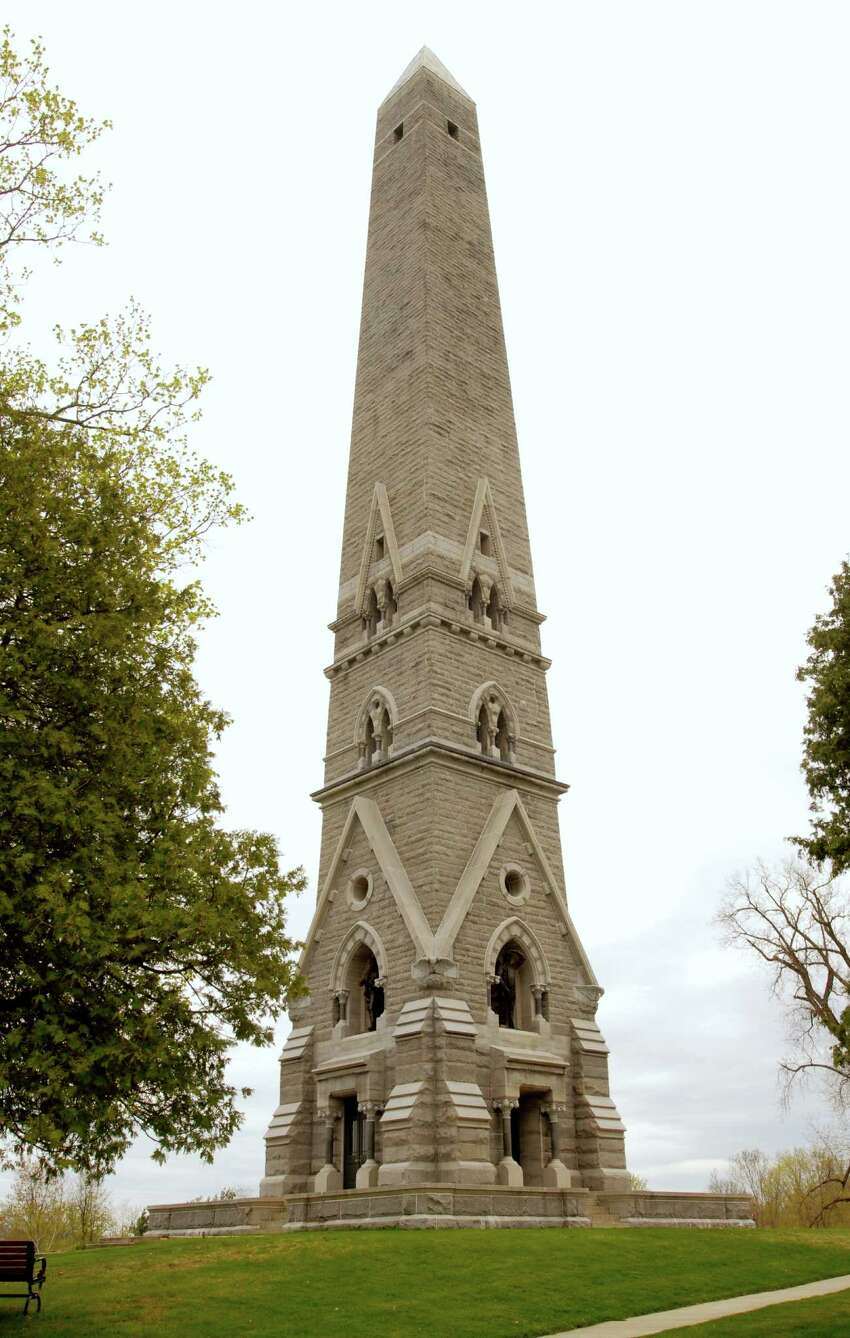 Exterior of the Saratoga Monument, cq., part of the Saratoga National Historical Park, on Thursday, April 30, 2009, in Schuylerville, NY. The Monument commemorates Burgoyne's surrender to Gates on Oct. 17, 1777. The 155-foot memorial was completed in 1883, stands within what was Burgoyne's entrenched camp during the final days of the campaign. Nearby Saratoga Battlefield and the Schuyler House are also part of the park.