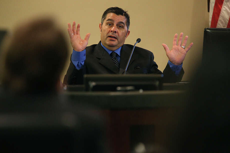 Victim Jacques Gonzales testifies during the attempted murder trial of Adolph Ramos Suarez in the 379th State District Court at the Cadena-Reeves Justice Center, Tuesday, August 4, 2015. Suarez is accused of shooting Gonzales three times in a road rage incident at the 800 block of Utopia Lane in May 2012. Witnesses told police Suarez first shot him in the head and then walked over to Gonzales as he lay in the street and shot him two more times. Photo: JERRY LARA, Staff / San Antonio Express-News / © 2015 San Antonio Express-News