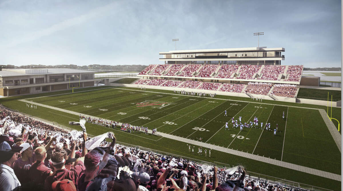 The second football stadium for the Katy school district, shown in this artist rendering, will seat 12,000 and will be located next to Rhodes Stadium.